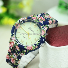 New Fashion Quartz Watch Rose Flower Print Silicone Watches Floral Jelly Sports Watches For Women Men Girls Hot Pink Wholesale
