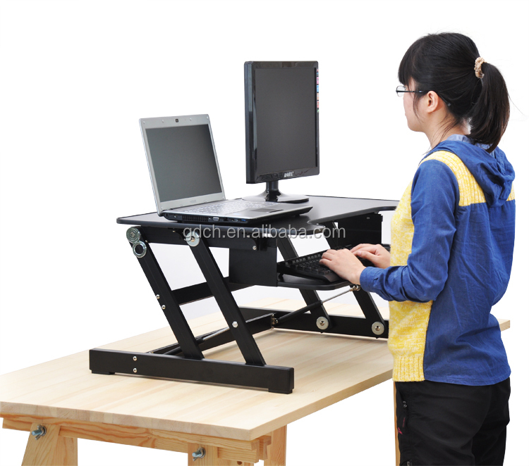 High Quality Adjust Height Sit Stand Desk With Wooden Desktop And Zinc