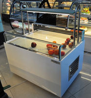 Commercial open top display refrigerator produce display cooler