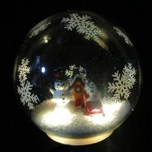 interior del muñeco de nieve led decoración de navidad bola de cristal de la luz