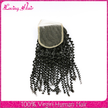 Unprocessed mongolian kinky curly hair closure mongolian lace closure cheap human hair lace closure