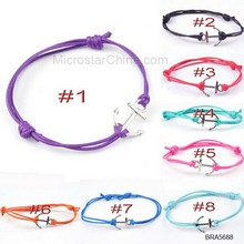 BRA5688 Small Quantity Adjustable Mixed Color Waxed Sliding Knot Rope Twist Cord Bracelets