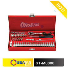 "Metal Case 46 PCS 1/4""DR. Socket Tool Box Set for Automotive Hand Tool Function"