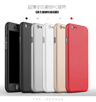 Front Back Full Protection Rubberized Hard Case Cover for iPhone 6s i Phone6 Plus with tempered glass