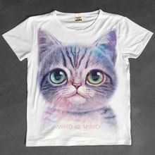 New arrival popular fashion funny cat face girl T-shirt / woman clothing
