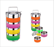 New design of 2016 Stainless steel food container two or four layer insulation color basket bento lunch box