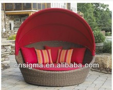 2013 New Deluxe Wicker canopy bed beach lounge sunbed SGL-130032C