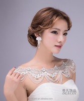 Alloy lace tassel diamond bride wedding dress shoulder chain and crown and earings