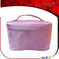 Max+ Waterproof Satin Travel Toiletries Bags Organizer New Style Purple and Pink Ladies Travel Cosmetic Bag