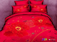 home textiles 100% cotton wedding bedding set red 3d comforter set