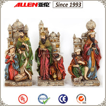"8.7"" two kings holding treasure in front of castle poly resin statue for Christmas"