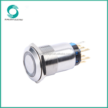 19mm Flat round Illuminated Momentary/Latching waterproof ring illuminated stainless steel push button switch
