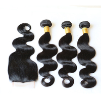 alibaba Factory wholesale 100% cheap brazilian virgin hair body wave with free parting lace closure For Black Women