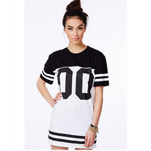 Monochrome Baseball Loose Long T-Shirt Dress