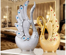 Fashion Luxury Home Decorative Pottery Inlay Double Swans Ornament