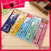 wholesale hot design school supplies pencil eraser ruler stationery gift set for children