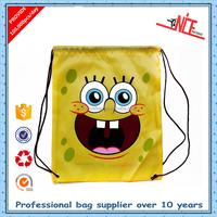 custom cute cartoon SpongeBob pattern printing nylon polyester school bag drawstring bag backpack