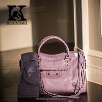 SK-T040 top grain women leather handbags shoulder bags classic purple color