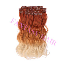 Cheap Synthetic Body wave #30/27/613 Ombre Clip In Hair extensions Natural Color Hair factory supply