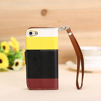 New design Card Slot Flip Stand Wallet leather Triple Color Case for iphone 5