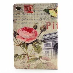 For Apple iPad Mini 4 Cases, Retro Flower Leather Flip Case For iPad Mini 4