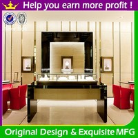 glass door lighted jewelry display case for diamond sales counter design