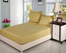 100%cotton colored luxury stripe used hotel bed sheet,flat sheet/elastic fitted sheet,bed sheet designs