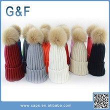 Wholesale Wool Knitted Women Winter Hats With Pompoms