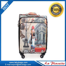 Decent abs/pc trolley bag/trolley luggage with 4 universal pu wheels