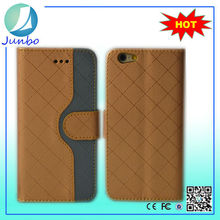 Luxury Grid skin with two card slots leather cases cover for iPhone 6