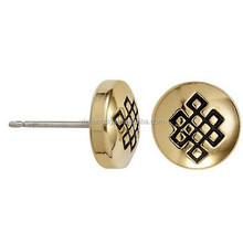 Endless Knot Sacred Studs Post Earrings - Rafaelian Gold Finish