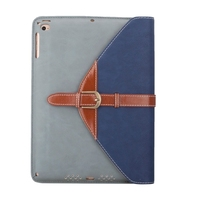 Wholesale Price Business Style Leather Case for iPad Air 2 Wallet Case with 3 Gears Holder