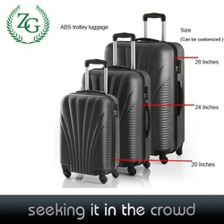 Promotional colourful abs travel luggage Omni-direction luggage luggage with alloy rod