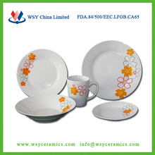 20pcs custom flower printing cheap ceramic porcelain dinnerware set