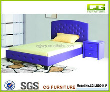 Modern bed frame with night stand bed with button, modern cheap simple royal leather bed with side table