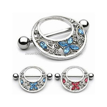 Pair Of Fancy Jeweled Butterfly And Flower Nipple Shields Ring Nipple Piercing Jewelry