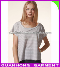fashion Ceviche grey Square ladies popular T-shirt in China 2013