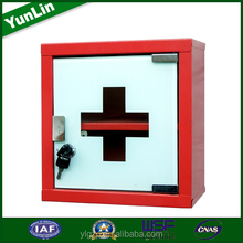 Glass door red powder coating medical equipment wall kits first aid
