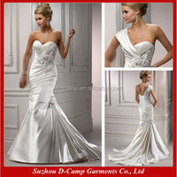 WD-866 Detachable one shoulder strap sweetheart neckline hand made flowers feathered mermaid wedding gowns