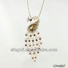 Fashion bright amethyst full of leather peacock necklace woven chain linked