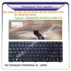 Glossy black wireless laptop keyboard for Acer E1-471 E1-421G E1-451G