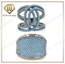 New Design Fashion 925 silver jewelry big turquoise rings