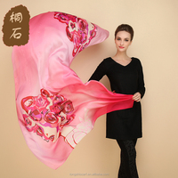 China factory cheap wholesale lady fashion romantic rose head pattern multicolor printed silk scarf