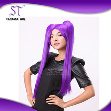 popular design japanese hot cosplay wig long style purple anime wig with braids