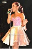 Ariana Grande's Cute Pink Party Cocktail Dress Irving Plaza Performance