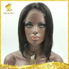 Short Cut 100% Virgin Indian Glueless Lace Front Wigs / Full Lace Wigs Human Hair Bob Wigs For Black Women With Side Bangs