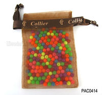 9*13cm Brown plain cheap organza tote bag with logo ribbon