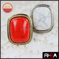 Square Shape Alloy Fashion Turquoise Stone Alloy Ring RR12381