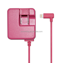 For apple mfi certified pink usb wall charger with 8 pin cable for iPhone 6/6 Plus/iPad 4 Air/Air 2 Mini compatible with IOS 8