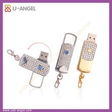 Diamond usb flash drive 1gb jewelry usb memory drive swivel usb flash disk 4gb